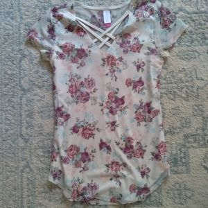 XS Floral white pink top lined